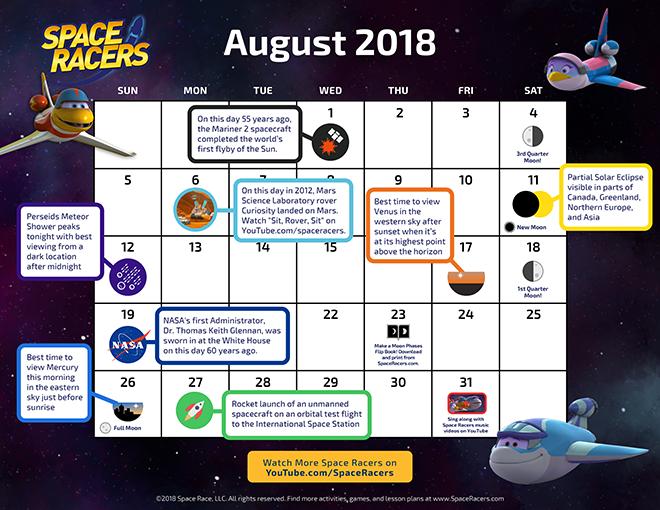 Space Racers Calendar